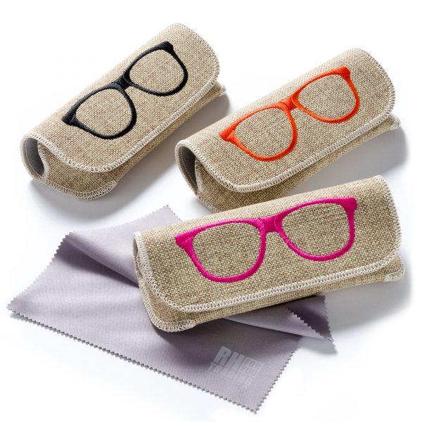 FEFI Brillenetui in Leinen-Optik